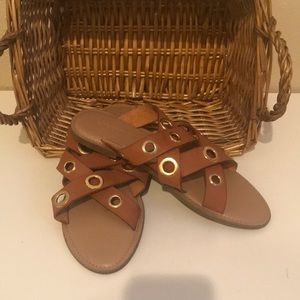 Women's gold and tan strappy sandals
